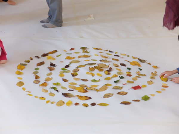 Autumn leaves placed them in a formation in the centre of the room to become the ArtScaper calendar