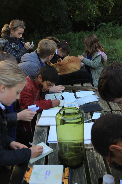 Children drawing and a taxidermy fox