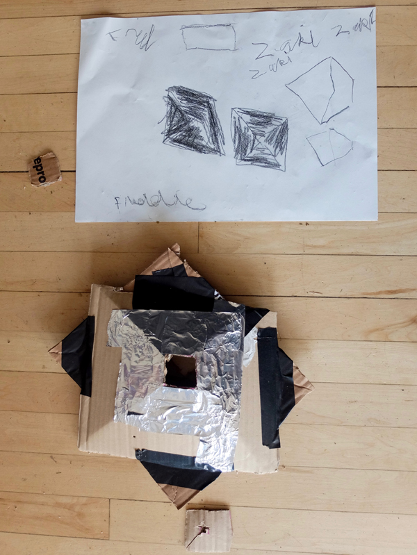 Sketch, tea house and prototype by Freddie and Zaki